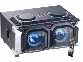 2.1-Stereo-Partyanlage, Bluetooth mit Karaoke-Funktion, 100 W, USB, SD