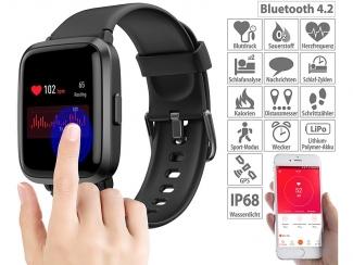 Fitness-Armband mit Glas-Touchscreen-Display, SpO2-Anzeige, App, IP68