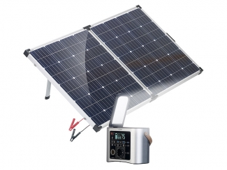 High-End-Powerbank & Solar-Konverter mit mobilem 160-W-Solar-Panel