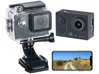 4K-Action-Cam mit UHD-Video bei 24 fps, 16-MP-Sony-Sensor, IP68, WLAN