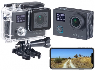 4K-Action-Cam für UHD-Videos, 2 Displays, WLAN, 16MP-Sony-Sensor IP68